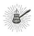 coffee pot silhouette with lettering vector image