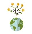 earth globe money plant icon vector image