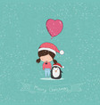 girl with heart shaped balloon christmas vector image