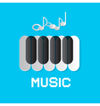 Piano Keyboard and Notes on Blue Abstract Music vector image