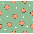 Red apple pattern on green background vector image