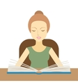 Woman reading a book at the table vector image