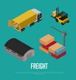 freight shipment isometric banner vector image
