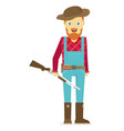 cartoon hunter with gun redneck isolated on white vector image
