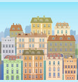 cartoon houses buildings old town view banner vector image