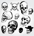doodled skulls vector image vector image