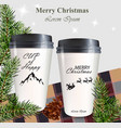 coffee cups to go realistic mock up winter vector image