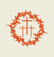 crown of thorns and three crosses vector image