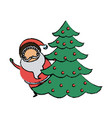 cute santa claus christmas character with pine vector image