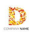 letter d logo with orange yellow red particles vector image