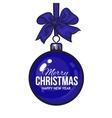 Christmas balls with blue ribbon and bows vector image