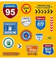Set of vintage retro gasoline signs and labels vector image