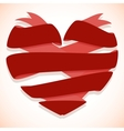 Red ribbon banner in the shape of heart vector image vector image