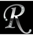 silver metallic letter R vector image