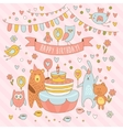 Happy birthday holiday card with cute animals vector image