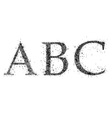 three uppercase letters of the alphabet vector image vector image