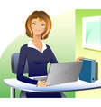 A beautiful business woman sitting and working at vector image