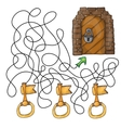 Choose the key to door - maze game for kids vector image