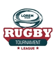 rugby sport ball tournament label design vector image