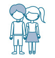 silhouette blue color sections faceless couple vector image
