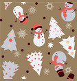 snowman and spruce winter seamless pattern vector image