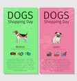 beagle and mops dog shopping day vector image