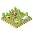 isometric traveling camping concept vector image