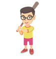 young caucasian boy in glasses playing baseball vector image