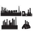 industrial building factory icon set on white vector image