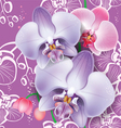 Seamless floral pattern with pink orchid vector image