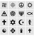 black religious symbols set vector image