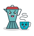 cartoon coffee maker and cup facial expression vector image
