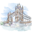drawing color tower bridge in london uk vector image