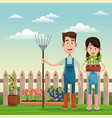farmers with pitchfork and pot plant field fence vector image