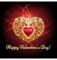 Heart shaped pendant against festive red vector image