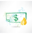 Paper dollar in fire grunge icon vector image