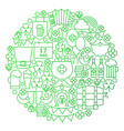 saint patrick day line circle vector image