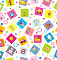 Seamless background with toys and cartoon kids vector image