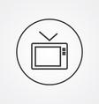 Tv outline symbol dark on white background logo vector image