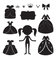 Princess dress silhouettes set Cartoon black and vector image