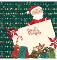 Square festive frame with Santa gift boxes and vector image