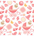 baby girl pattern on pink vector image