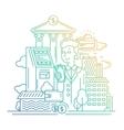 Businessman managing money - line design vector image