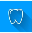 Human teeth simple white icon with long shadow on vector image