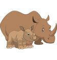 rhinoceros with cub vector image