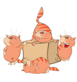 Set of Cartoon Cute Cats and Box vector image