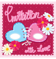 Wedding invitation card with 2 hearts and flowers vector image vector image