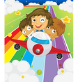 A plane with three playful kids vector image vector image