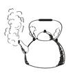 a boiling kettle and steam vector image
