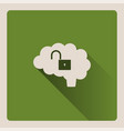 Unlocked brain on green background with shade vector image
